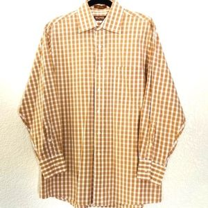 Michael Kors | Brown/Tan Plaid Button Down Shirt L